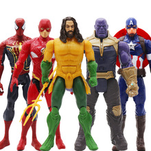 лучшая цена 30cm avengers iron man Captain America Thor Thanos Hulk Spiderman Black Panther Aquaman flash PVC action figure toys kid gift