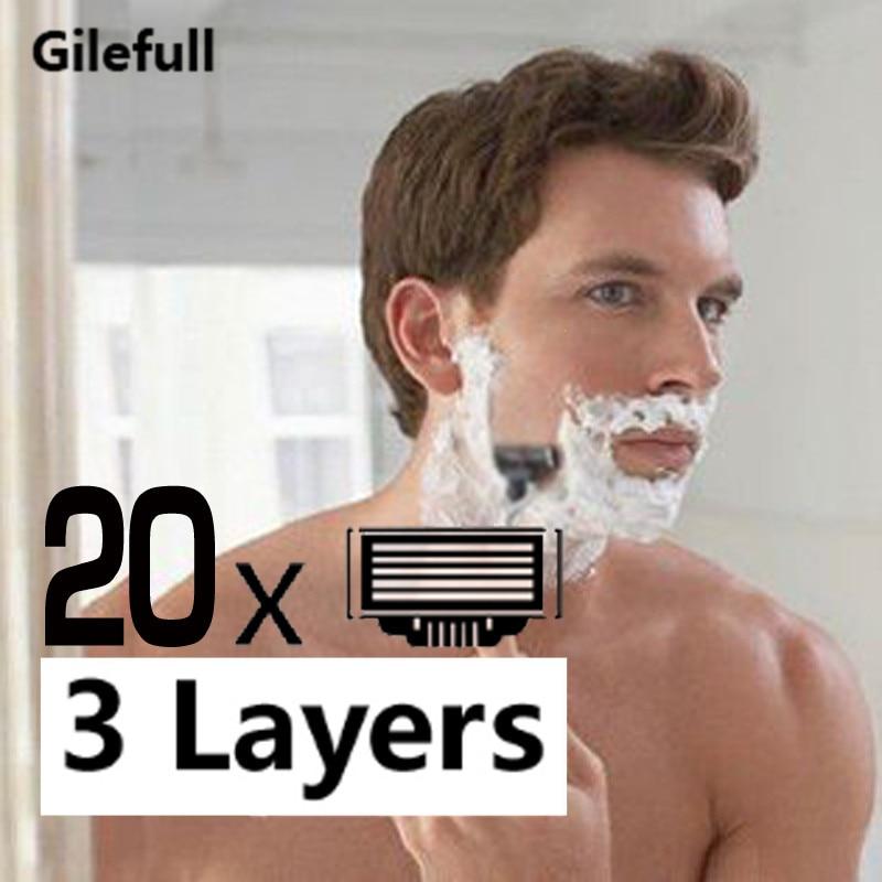 753.26руб. 30% СКИДКА|20 шт./лот бритва лезвия кассеты для бритья Лезвия для мужчин лицо 3 слойные лезвия совместимы с Gillettee Mache 3 машины|Бритва| |  - AliExpress