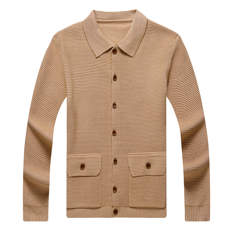 Autumn New Cardigan Men Clothing Turn-down Collar Pockets Fashion 2020 Button Decor Korean Slim Fit Sweater Streetwear Male(China)