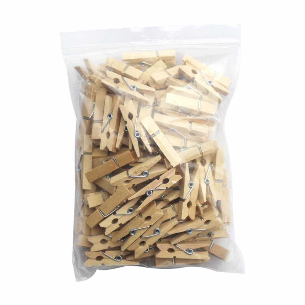 100pcs Small Mini Size Wood Photo Clips Clothespin Craft Decoration Clips Pegs Snack Clips.