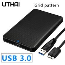 UTHAI G10 2020 USB 3.0 Mobile Hard Disk Box 2.5 Inch SATA Hard Disk Box SSD Sliding Cover Grid Texture Mobile External HDD Case