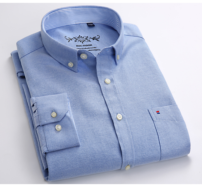 H6b2e85d1e00447cc96c1f25ed6aa24175 Men's Plus Size Casual Solid Oxford Dress Shirt Single Patch Pocket Long Sleeve Regular-fit Button-down Thick Shirts