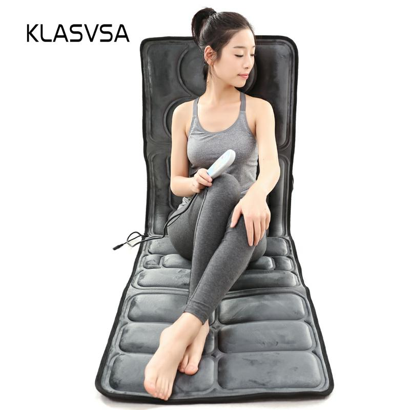 KLASVSA Electric Vibrator Heating Back Neck Massager Mattress Waist Cushion Mat Home Office Relax Bed Pain Relief Health Care image
