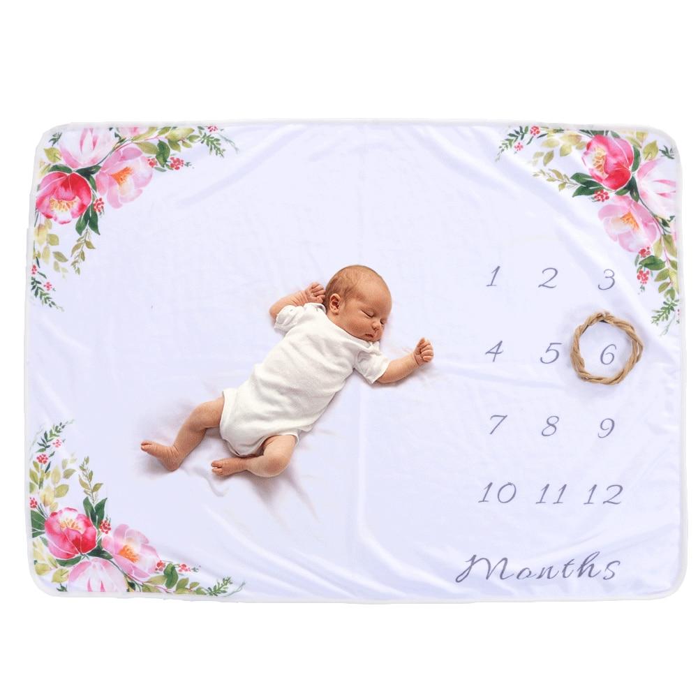 19 стильных детских ежемесячных одеял для девочек и мальчиков с цветочными крыльями, рамка для новорожденных, фон для фотосессии, фланелевый Рождественский олень - Цвет: Type 15