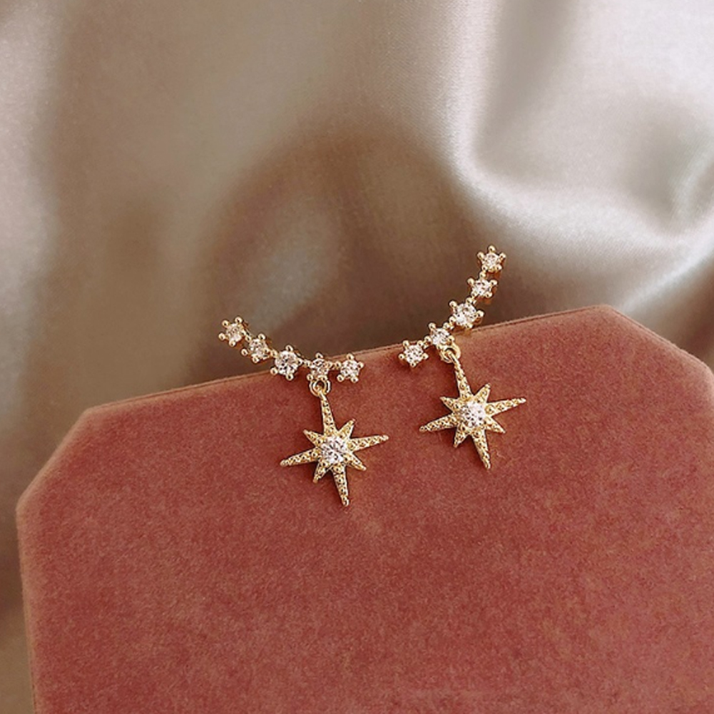 New 2020 Contracted Delicate Crystal Star Temperament Drop Earrings Women Korean Classic Style Small Earrings Fashion