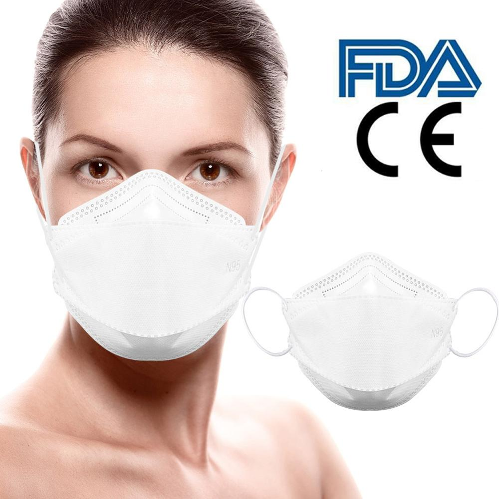2pcs N95 Mask With CE FDA Certification  Adult Vertical Folding Nonwoven Valved Dust Mask PM 2.5 Mouth Mask Protective Mask