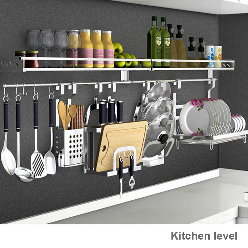 Shelf Rack For Kitchen Bathroom Stainless Steel Double Towel Bar Holder With Hooks Wall Mounted Punch-free Foldable Brushed