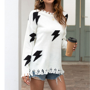 Autumn Fashion Sweater Women Knit Sweater Lightning Hole Tassel Pullover Sweater Casual Loose Style High Street Basic Sweaters