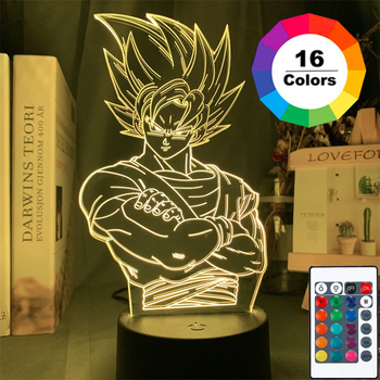 3D LED Night Light Dragon Ball Anime Series 16Color 3D Night Light Remote Control Table Lamp Toy Gift Children Home Decoration 3d led night light baby light goku anime bedroom decoration night light 16 color change usb table lamp dragon ball gift toy