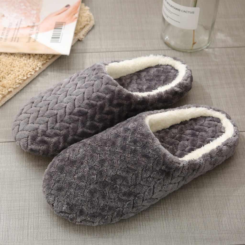 ผู้หญิงรองเท้าแตะ Slip-On Anti-Skid ดอกไม้ในร่มรองเท้าหิมะรองเท้าแตะ 2019 ฤดูใบไม้ร่วงฤดูหนาวใหม่นุ่มรองเท้าแตะ