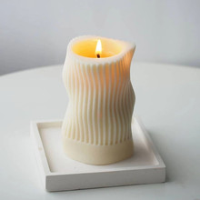 Striped Columnar Candle Silicone Mold Distorted Space Line Design Home Decoration Scented Molds For Candle Making