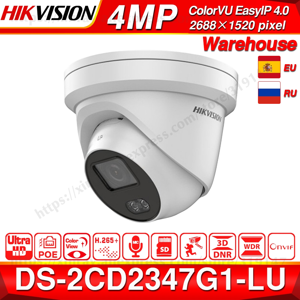 Hikvision EasyIP 4,0 ColorVu Original IP Kamera DS-2CD2347G1-LU 4MP Netzwerk Kugel POE IP Kamera H.265 CCTV Kamera SD Card Slot