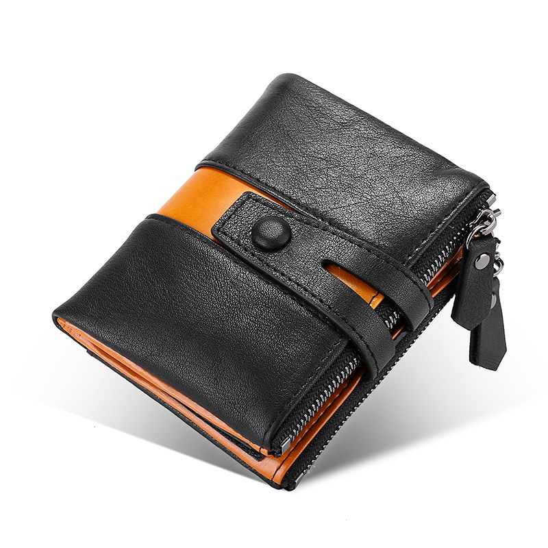 Genuine Men's leather wallet Panelled short money bag Double zipper big capacity Male Purses high quality RFID walet for men