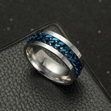 Anéis de giro do estilo do punk rock da descompressão de aço inoxidável para homens jóias festa link corrente simples anel masculino 5 cores tamanho 6-12