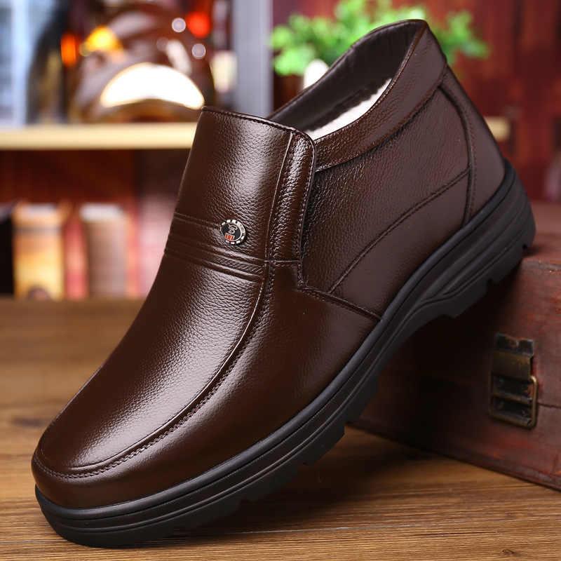 Echtes Leder Schuhe Männer Winter Stiefel 2019 Warme Baumwolle Schuhe für Kalten Winter Kuh Leder Herren Stiefeletten Männlichen Schuhe a1883