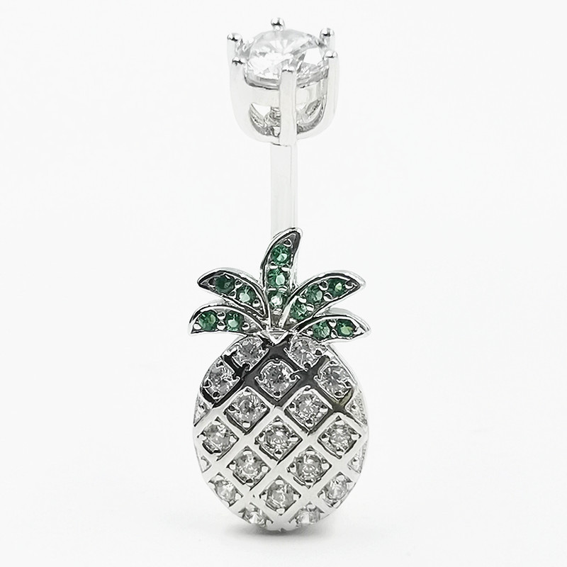925 sterling silver Belly Button Ring pineapple CZ navel piercing jewelry for women body jewelry