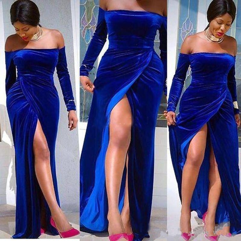 2020 Off The Shoulder Evening Dresses Royal Blue Velvet Long Sleeve Side Split Mermaid Sweep Train Formal Occasion Prom Dresses