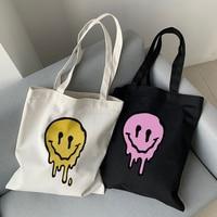 Bolsos de lona con estampado de sonrisa gótica para mujer, bandoleras femeninas de gran capacidad estilo Harajuku con dibujos animados, Estilo Vintage Hip Hop