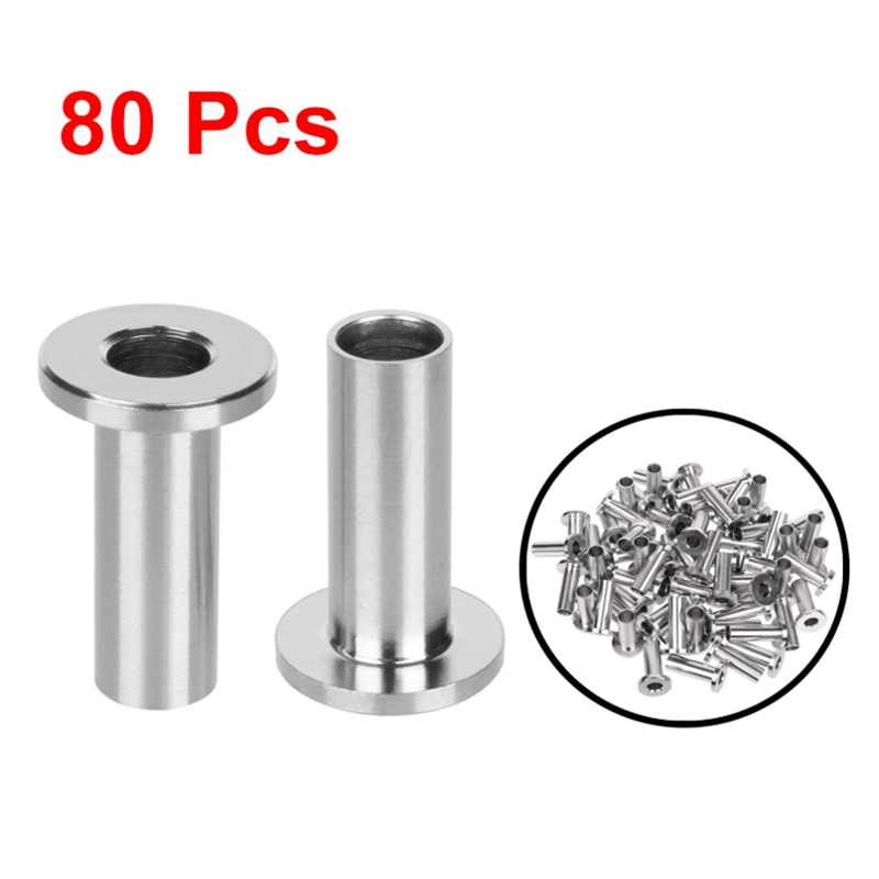 New 80Pack Stainless Steel Protector Sleeves For 1/8 Inch Wire Rope Cable Railing DIY Balustrade T316 Marine Grade