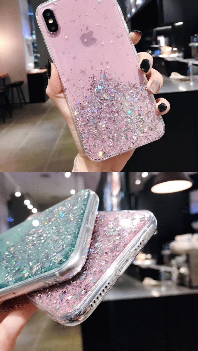 H6b2f9abb470f472fa18f6b08c43e552bO - Solid quicks Case For iphone 11 8 7 Plus 6 6s Glitter Bling Sequins Epoxy Star Case For iphone 11 Pro MAX X XR XS Soft TPU Cover
