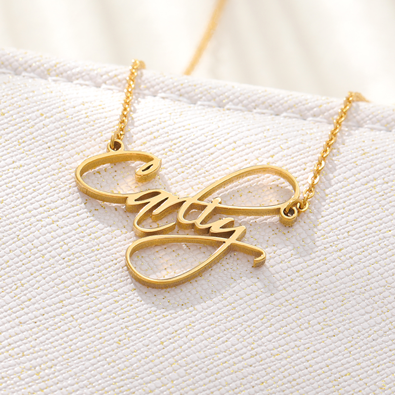 Customized Name Necklace Gold Silver Stainless Steel Personalized Necklace For Women Custom Jewelry BFF Collares De Moda 2019