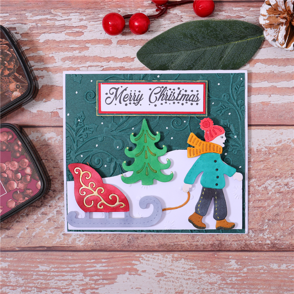 YaMinSanNiO Merry Christmas Metal Cutting Dies Sled Scrapbooking Die Cuts For Making Card Decorative Embossing DIY Craft Stencil