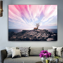 RELIABLI Poster Wall Art Canvas Painting Landscape Deer Sea and Cloud Wall Pictures for Living Room Home Decoration Unframed