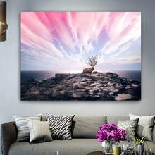 RELIABLI affiche mur Art toile peinture paysage cerf mer et nuage mur photos pour salon décoration de la maison sans cadre