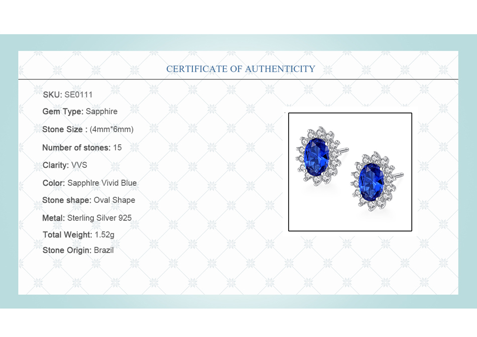 H6b2fb56112ab49ce977b30dfda2dbfda1 - CZCITY New Natural Birthstone Royal Blue Oval Topaz Stud Earrings With Solid 925 Sterling Silver Fine Jewelry For Women Brincos