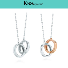KN tiff Interlocking Round pendant necklace Original 100% 925 Sterling Silver Women Free Shipping Jewelry High-end Quality Gift