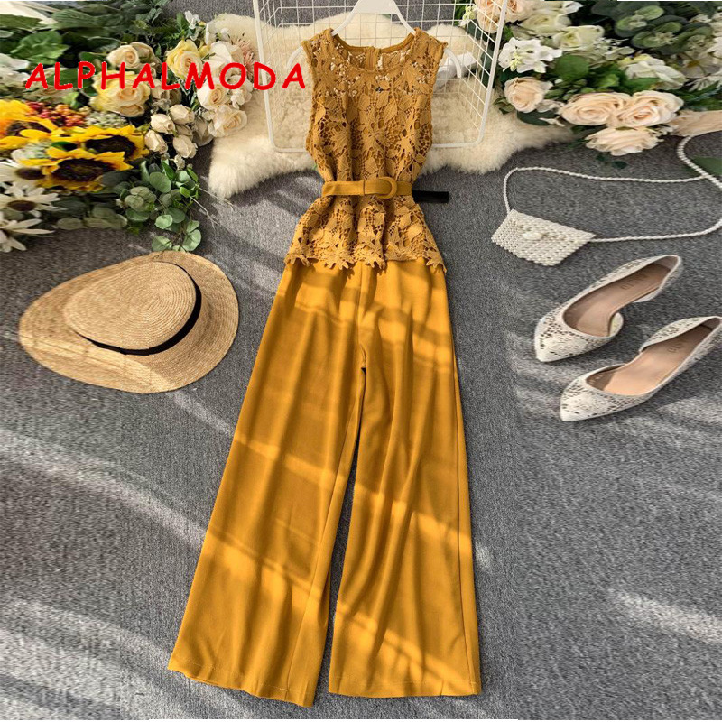 ALPHALMODA 2019 New Hollow Out Lace Patchwork Slim Wide-leg Jumpsuit Sleeveless Solid Belted Women Fashion Rompers