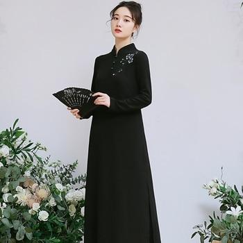 2020 elegant women satin qipao full sleeve dress traditional chinese style mandarin collar cheongsam vestidos chinese dress