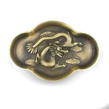 LAOJUNLU Pure Copper Pen Wash Brass Carved Dragon Embossed Vintage Old Manuscript Painting And Calligraphy Supplies Bronze