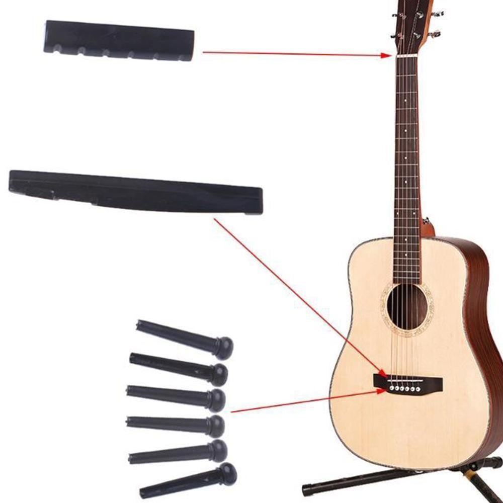 Portable Acoustic Guitar String Bridge Pins Saddle Nut Finish Quality Plastic Accessories
