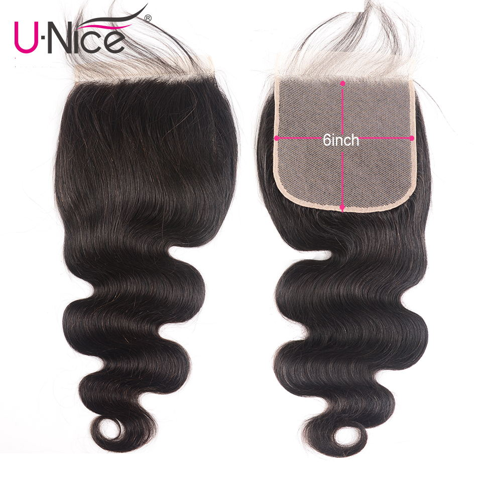 "Unice Hair Brazilian Body Wave 6""x6""  Closure Swiss Lace Remy Human Hair Lace Closure 1 Piece 10-18 Inch"