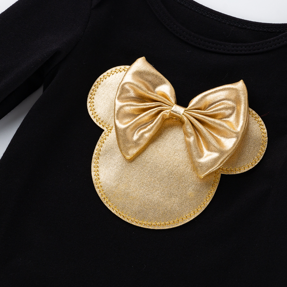 2020 Golden Ruffles Baby Girls Tutu Skirt Shoes Headband Newborn Sets and New Baby Long Sleeve Clothes Black Cotton Rompers