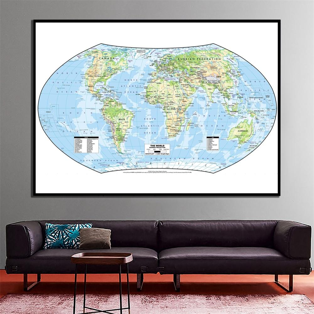 24x48 Inches The World Hammer Projection World Physical Map HD World Map For Study/Education And Wall Decoration