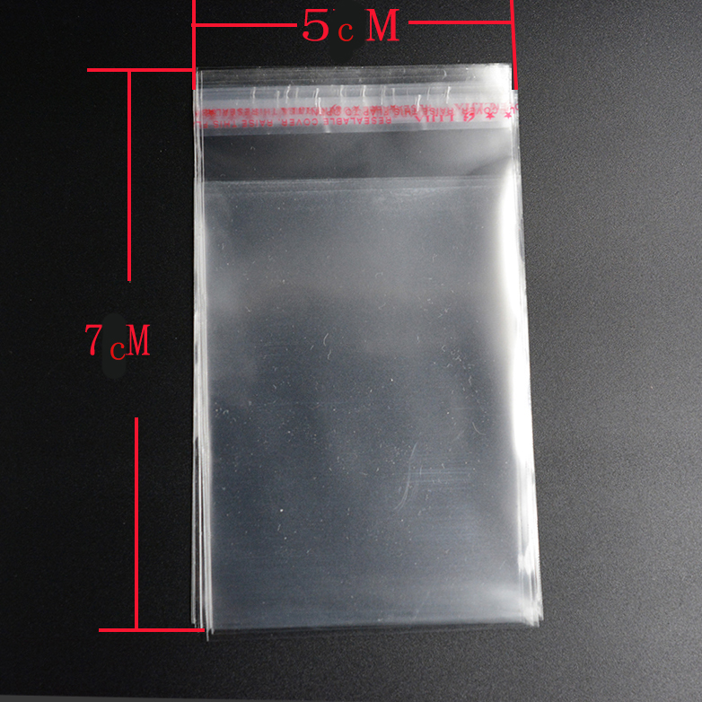 Pouchess 100pcs 5cm*7cm  Transparent Resealable Cellophane OPP Poly Bags Self Adhesive Plastic Bag Self Adhesive Seal Bags