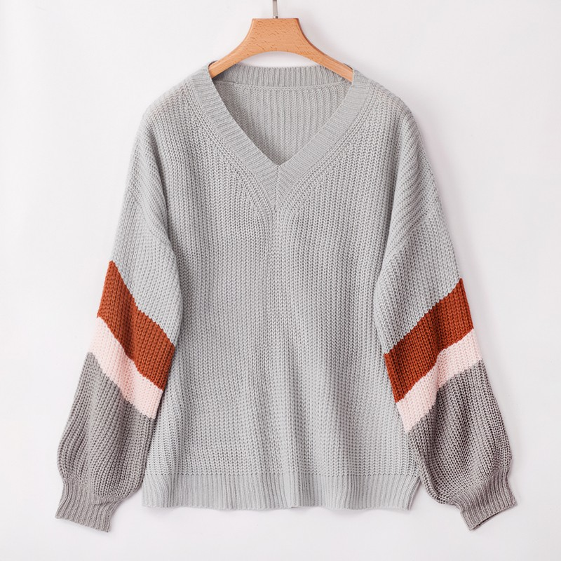BEFORW 2019 Fall Knitted Pullovers Sweater Women V Neck Long Sleeve Loose Sweaters Tops Winter Casual Ladies Office Sweater in Pullovers from Women 39 s Clothing