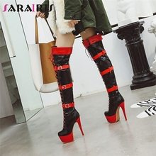 SARAIRIS New Plus Size 33-48 Platform Thigh High Boots Women Winter Fashion Over The Knee Heels Shoes Woman