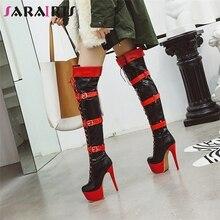 купить SARAIRIS New Plus Size 33-48 Platform Thigh High Boots Women Winter Fashion Platform Over The Knee Boots High Heels Shoes Woman дешево