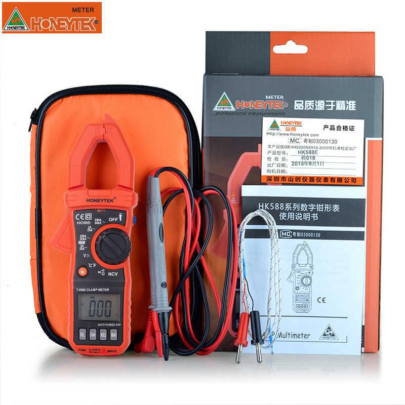 HK588B Mini Multimeter Digitale Professionele Voltmeter Digitale Ampèremeter Met Fashlight Meetbare Temperatuur Multi-tester