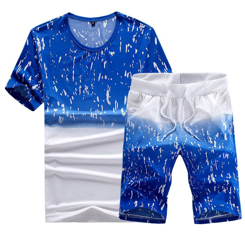 Tracksuit Men Clothing 2020 Summer Men Set Fitness Suit Sporting Suits Short Sleeve T Shirt + Shorts Quick Drying 2 Piece Set