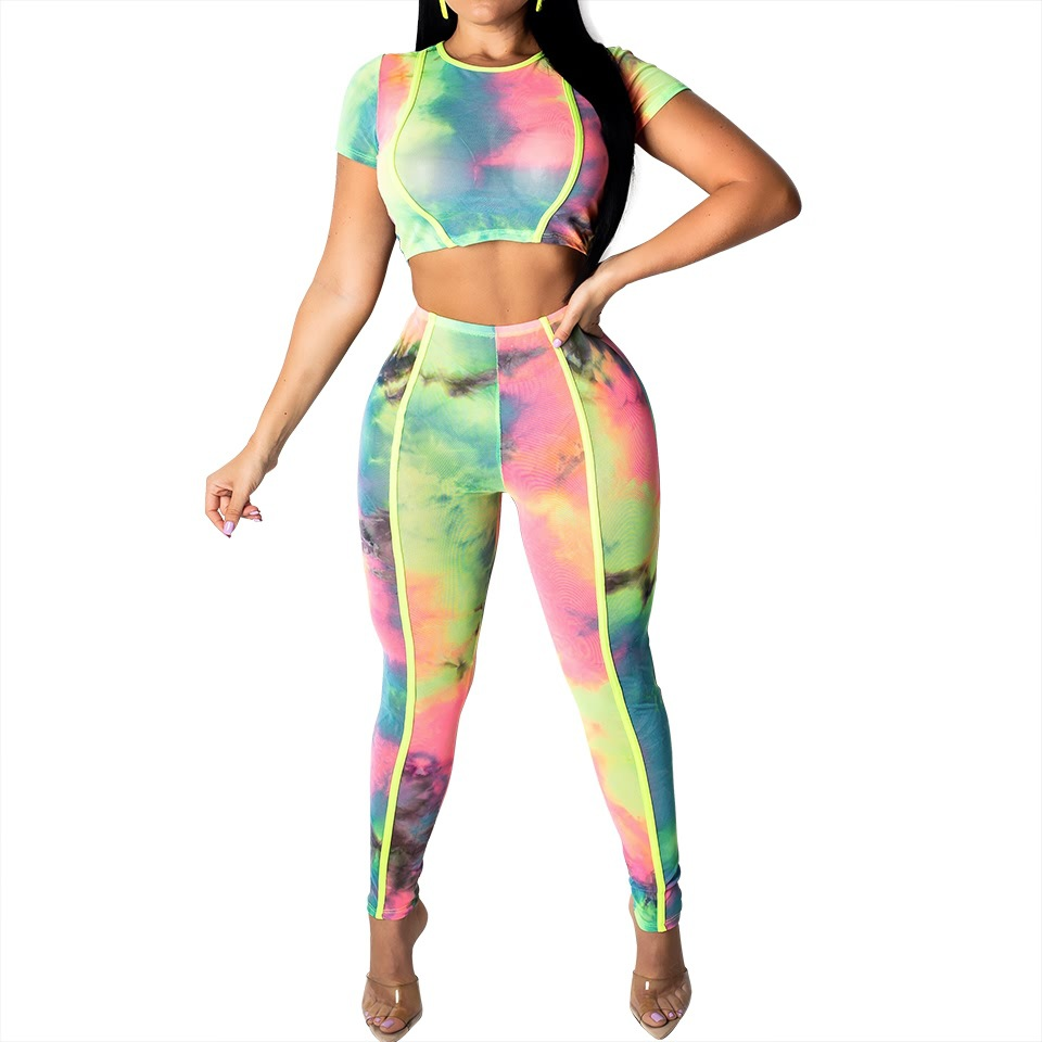 Hot Selling Hot Selling Women's European And American-Style Printed Short Sleeved Bare Midriff Set 8149