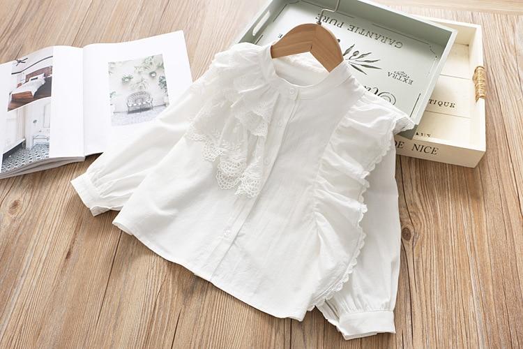 Кружевная рубашка с длинным рукавом для девочек; одежда для малышей; весна г