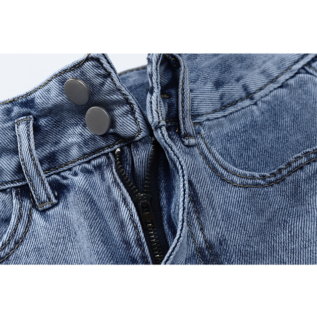 2021 New Summer Fashion Women High Waist Button Vintage Print Leg Jeans Shorts Casual Female Loose Streetwear Denim Shorts 5