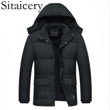 Sitaicery 5XL Down Jackets New Thick Winter Jacket For Men Hooded Padded Zipper Pockets Black Coat Clothing Outwear Dropshipping