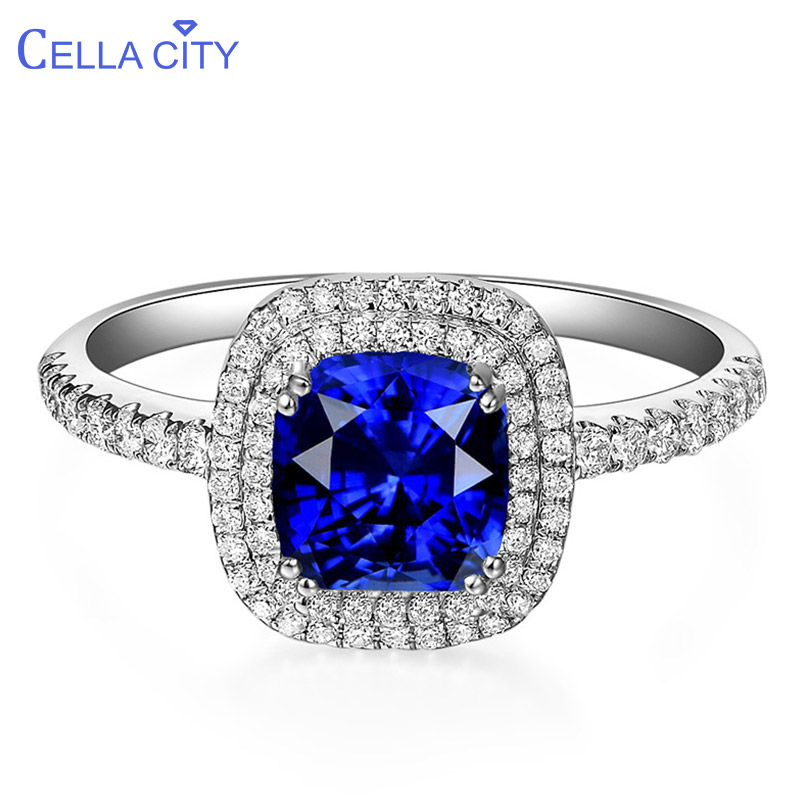 Cellacity Graceful Luxury Geometry Sapphire Ring For Women Silver 925 Jewelry Gemstones Opening Adjustable Anniversary Gift