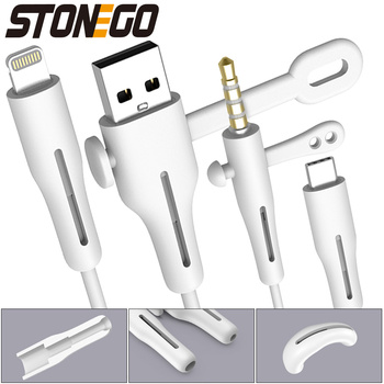 STONEGO 2 in 1 Charging Cable Protector Phones Cable holder Cover cable winder clip USB Charger Cord management cable organizer 1
