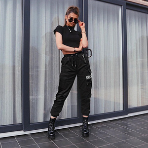 Image 3 - HOUZHOU Punk Cargo Pants Women Hippie Hip Hop High Waist Pants with Chain Print Casual Joggers Women Trousers Streetwear